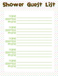 Babyshower guest list