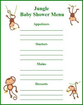 pics photos baby shower food menu template
