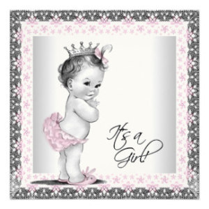 Pink princess baby shower template