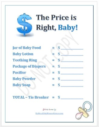 baby shower game the price is right