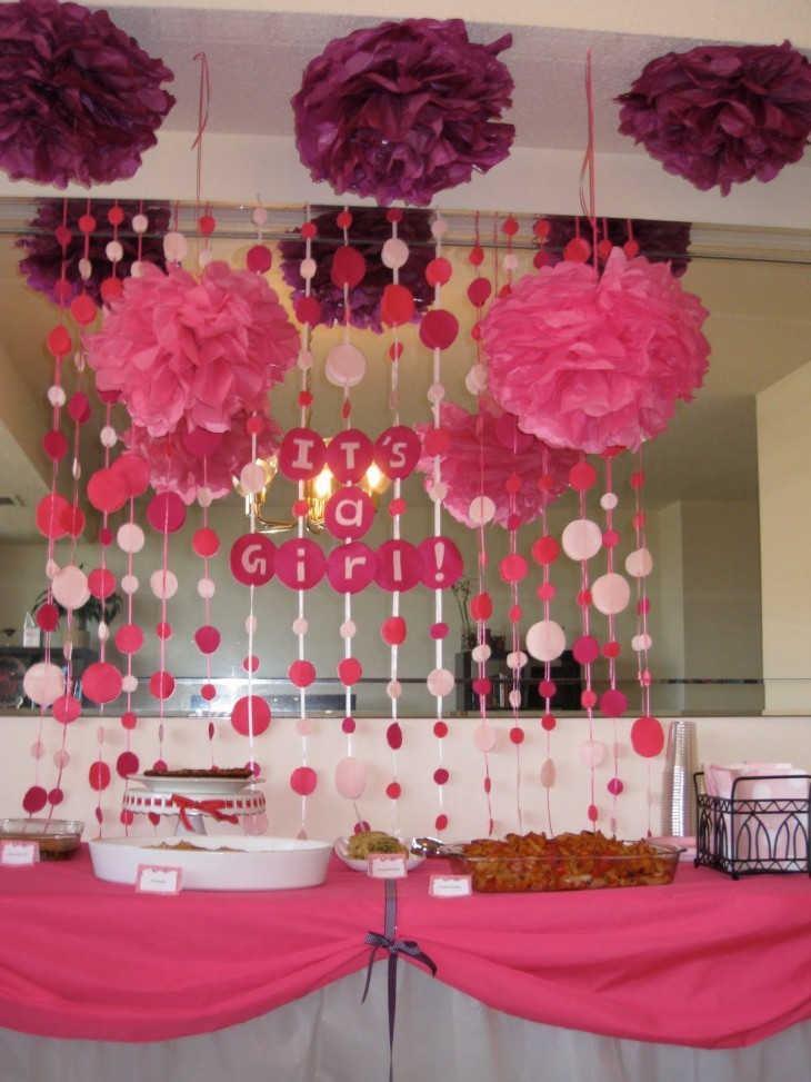 Baby shower at home work or restaurant baby showers for Baby girl shower decoration ideas